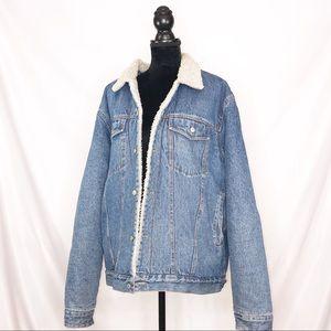 Vintage Sherpa Large Oversized Jean Jacket XL